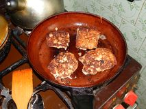 Pork meat rolls with breading fried in a pan. Pork meat rolls with breading fried stock photos