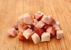 Pork meat smoked slice cube Stock Photos