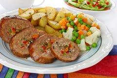 Pork meat stuffed vegetables. Fried pork meat stuffed vegetables Royalty Free Stock Images