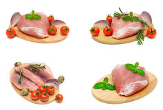 Pork meat, vegetables and eggs on a white background. Horizontal photo Stock Photography