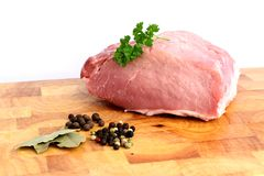 Pork meat. On wooden cutting board Royalty Free Stock Image