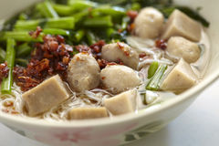 Pork meatball noodle Royalty Free Stock Images