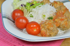 Pork meatball. And rice vermicelli on a bowl Stock Photos