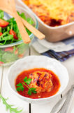 Pork Meatballs baked with Tomato Sauce and Cheese Royalty Free Stock Photography