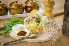 Pork meatballs and noodle soup Royalty Free Stock Photo