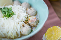 Pork meatballs and noodle soup Royalty Free Stock Photos
