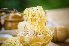 Pork meatballs and noodle soup Stock Photos