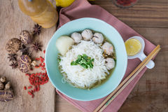 Pork meatballs and noodle soup Royalty Free Stock Images