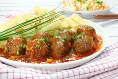 Pork meatballs with pasta Stock Images