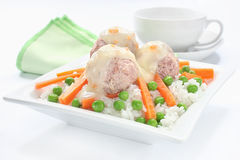 Pork meatballs with rice Royalty Free Stock Images