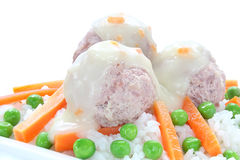 Pork meatballs with rice Stock Images