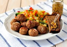 Pork Meatballs with Vegetables Royalty Free Stock Photo