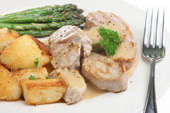 Pork Medallions. With a creamy apple sauce and sauteed potatoes Royalty Free Stock Photo