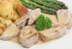 Pork Medallions. In apple sauce with sauteed potatoes Royalty Free Stock Photos
