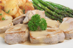 Pork Medallions. With asparagus, sauteed potatoes and apple sauce Stock Images