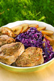 Pork medallions with apples royalty free stock photography