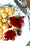 Pork Medallions with Cranberry Sauce Royalty Free Stock Photo