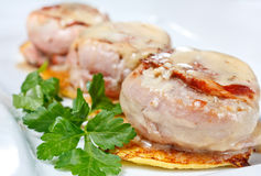 Pork medallions with potato pancake Royalty Free Stock Photography