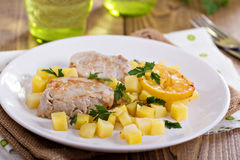 Pork medallions with vegetables Royalty Free Stock Photo