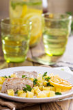 Pork medallions with vegetables Royalty Free Stock Images