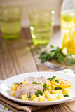 Pork medallions with vegetables Royalty Free Stock Photos