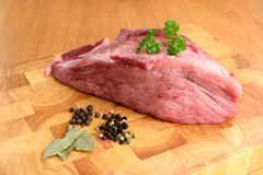 Pork muscle and bay leaf Royalty Free Stock Image