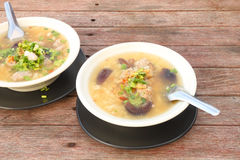 Pork and mushroom congee Stock Image