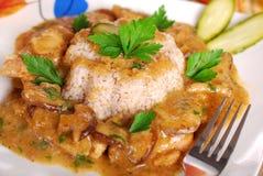 Pork and mushroom stew with barley Stock Photo
