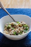 Pork and mushroom Stroganoff with rice on a blue background vert Stock Images
