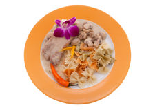 Pork with mushrooms and clipping path Stock Images