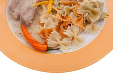 Pork with mushrooms and clipping path Royalty Free Stock Photos