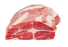 Pork neck carbonade. Fresh juicy raw pork meat. Pork neck carbonade. Isolated on white background Stock Image