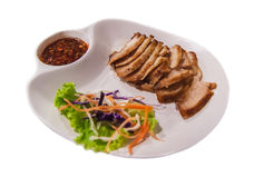 Pork neck Grill Thai style food isolated Royalty Free Stock Photos