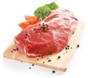 Pork neck. Raw pork meat with salad isolated stock photos