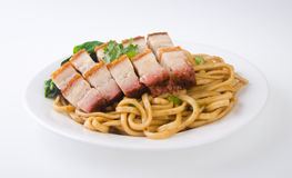Pork noodle. BBQ pork noodle Royalty Free Stock Images