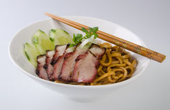 Pork noodle. BBQ pork noodle stock image