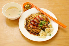 Pork noodle. BBQ pork noodle Stock Photo