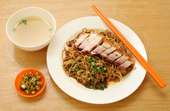 Pork noodle. BBQ pork noodle stock photography
