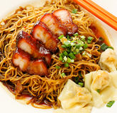 Pork noodle. BBQ pork noodle Royalty Free Stock Photography