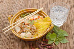 Pork noodle in the bowl with herb Royalty Free Stock Image