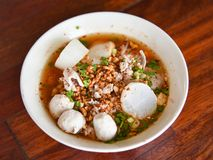Spicy tom yum noodle with pork Royalty Free Stock Images