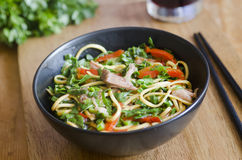 Pork with noodles Stock Photos