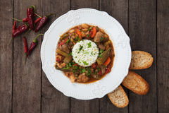 Pork and okra gumbo meal Royalty Free Stock Images