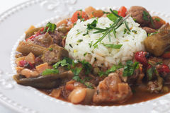 Pork and okra gumbo meal Royalty Free Stock Image