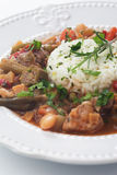 Pork and okra gumbo meal Stock Images