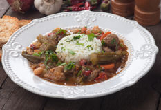 Pork and okra gumbo meal Stock Photos