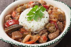 Pork and okra gumbo meal Royalty Free Stock Photo