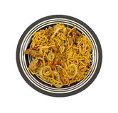 Pork Onion Noodles Overhead View Royalty Free Stock Photo