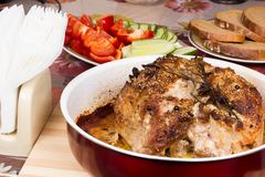 Pork in the oven. Fried pork with spices and vegetables Stock Photo
