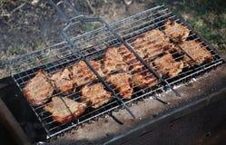 Pork på stång-b-quegallret Arkivfoton